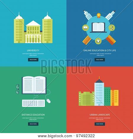 Flat design modern vector illustration icons set of online education, e-learning, university, urban