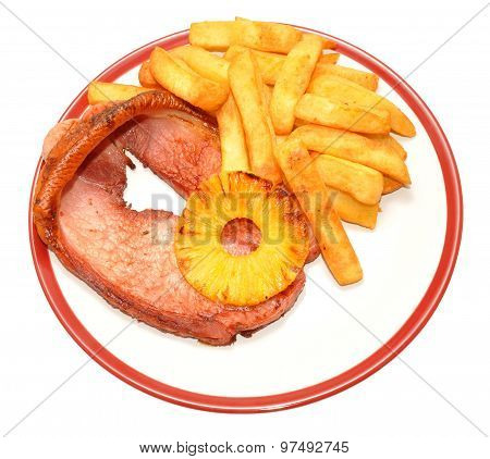 Gammon Steak And Chips Meal