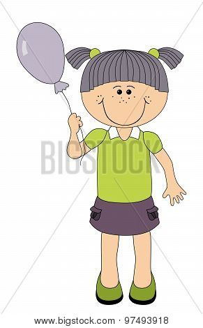 Smiling Girl With Balloon - Isolated On White