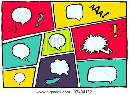 Set dynamic comic speech bubbles different emotion