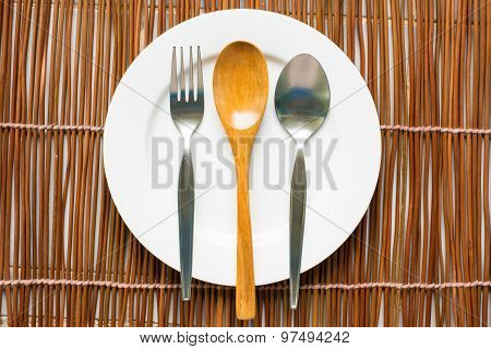 Top View Of Tableware For Eating