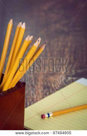 Group Of Yellow Pencils In Pencil Holder