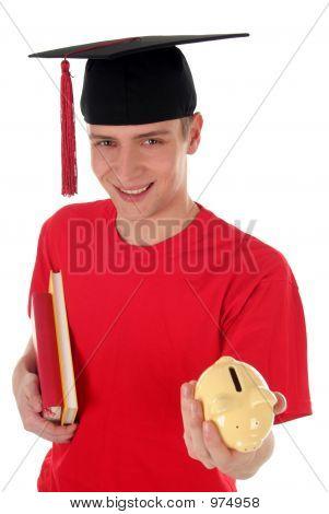 Joven estudiante Holding Pigybank