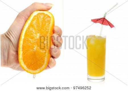Woman Holding Orange Close Up