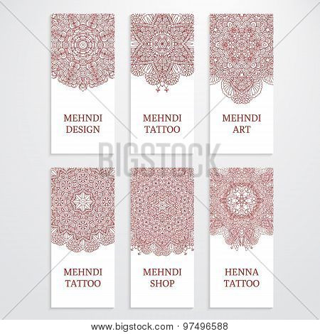 Set of flyer templates mehndi design