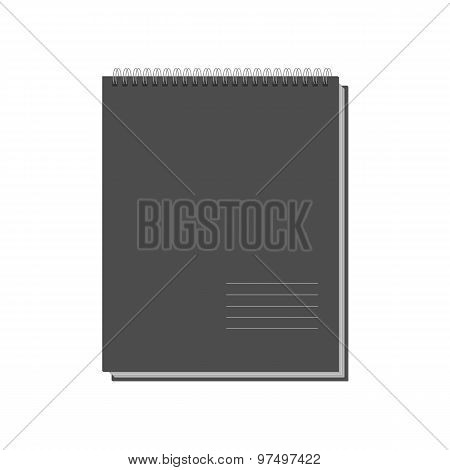 Black Copybook Template Isolated On White Background