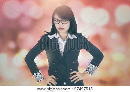 Bossy Businesswoman With Bokeh Background