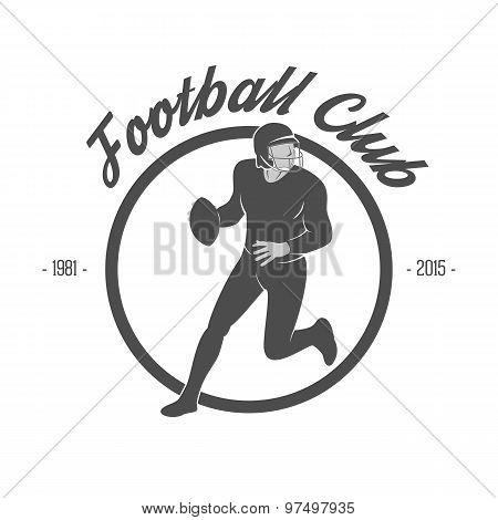 Design Of White Football Label With Player