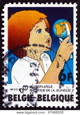 Postage Stamp Belgium 1981 Child With Globe