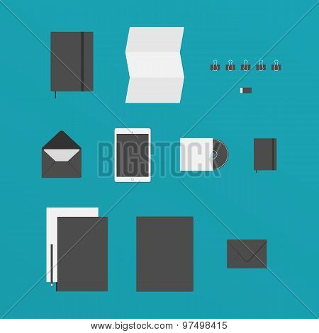 Flat Design Of Office Stuff Like A Paper, Tablet, Folders And Other Items