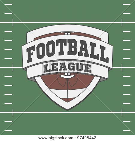 Football Label On Green Field Background