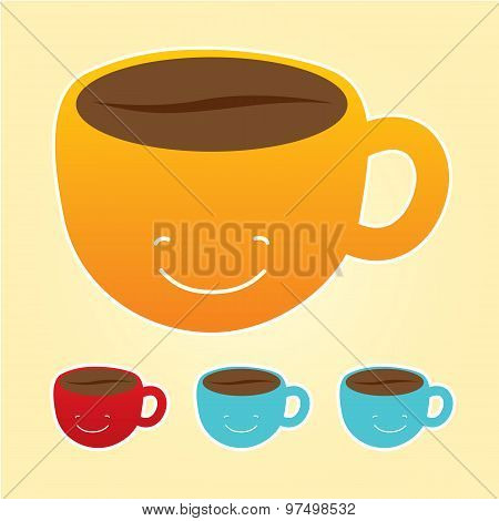 Smiling cup of coffee icons set.