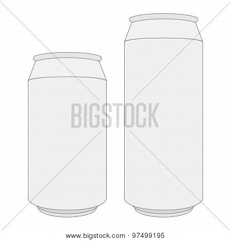 Two Blank White Beer Cans With Place For Your Design And Branding