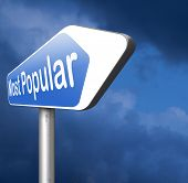 most popular or wanted road sign popularity for bestseller or market leader and top product or ratin poster
