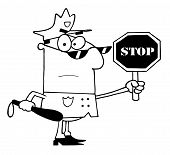 stock photo of sherif  - Coloring Page Outline Of A Police Officer Holding A Stop Sign And Club - JPG