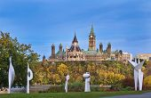 picture of tick tock  - The Canadian Parliament Centre Block and Library of Canada seen from the Civilization Museum - JPG
