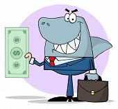 pic of loan-shark  - Happy Business Shark Holding Cash in front of blue background - JPG