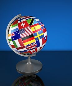 picture of flags world  - Travel services marketing and international business management concept with a school globe and international flags of the world illustration on blue background - JPG