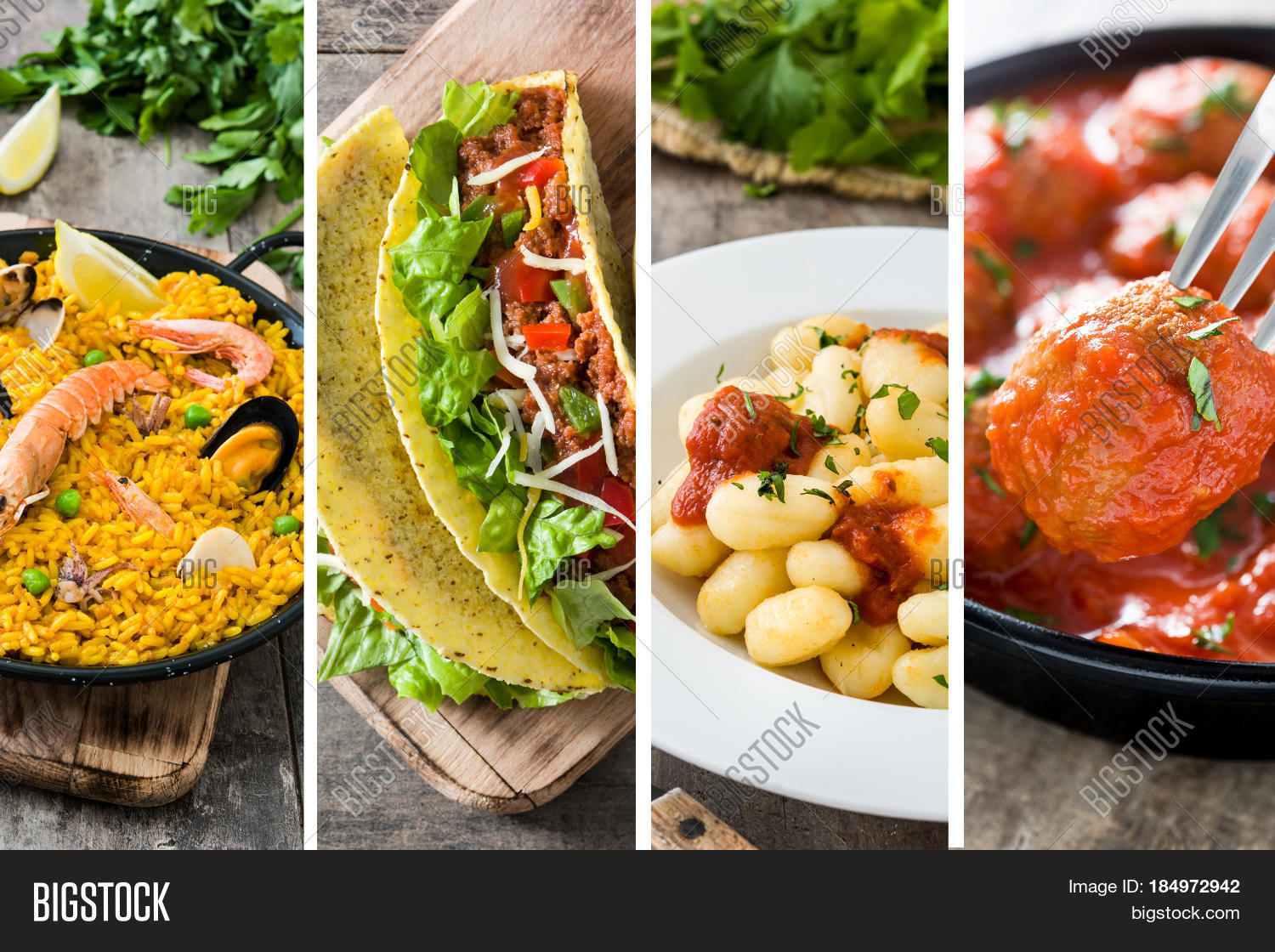 Collage Different Delicious Food Image & Photo | Bigstock