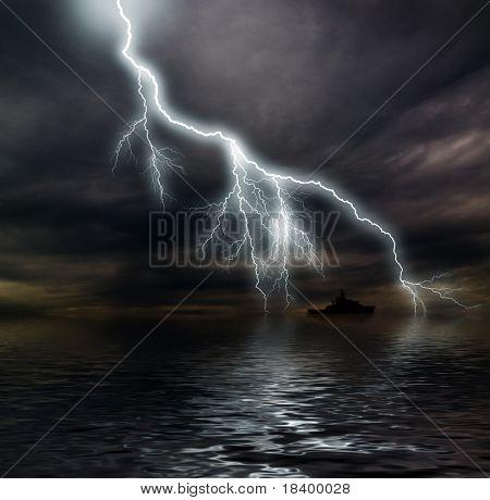 Dark stormy ocean