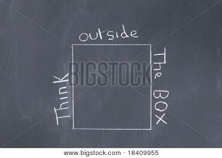 "Words ""think Outside The Box"" Written Around A Cube On A Blackboard"