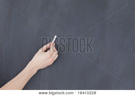 Hand Holding A Chalk And And Ready To Write On A Blackboard