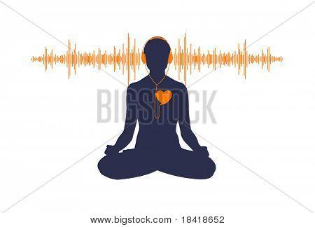 Ilustración del yoga escuchar su corazón. Vea la ilustración vectorial en mi cartera