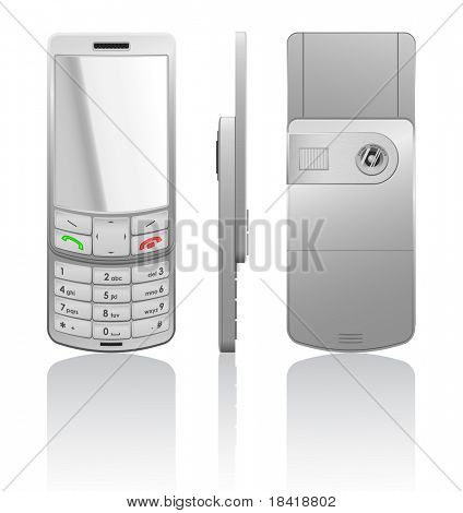 Vector photorealistic illustration of a silver cellphone-slider, open