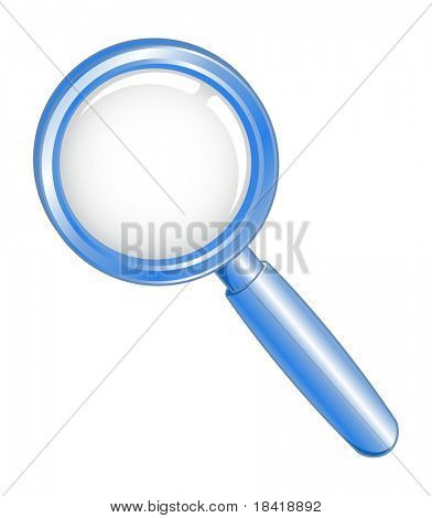 Vector illustration of a blue search icon
