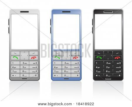 Vector photorealistic illustration of a color cellphones, open