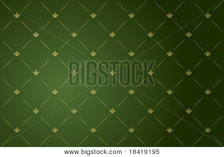 Vector illustration of green and gold vintage wallpaper