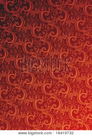 Vector red floral wallpaper