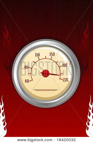 Vector speedometer with fires on red background