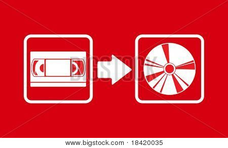 Vector illustration of vhs to cd transfer