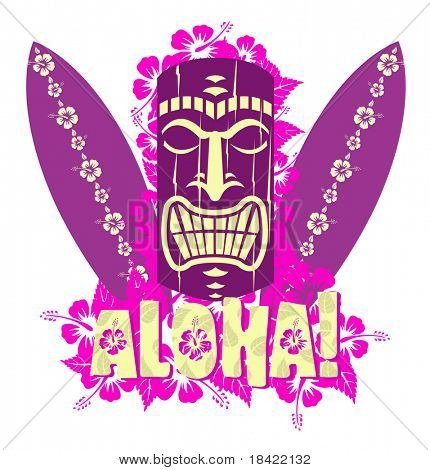 Illustration of tiki mask with surf boards, and hand drawn text Aloha