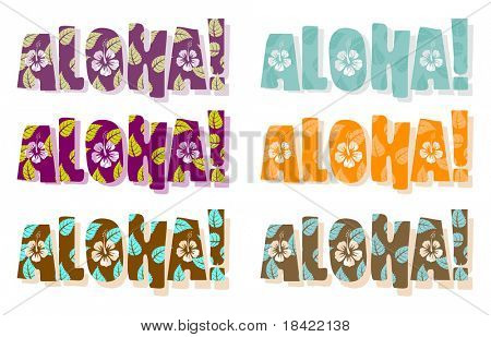 Illustration of aloha word in different colors, hand drawn text