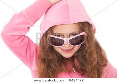 Young Girl wearing Pink Sunglasses And Hood smiling