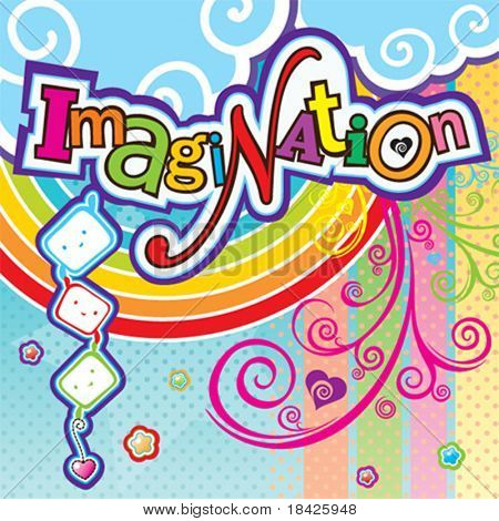 Vector illustration with Imagination text