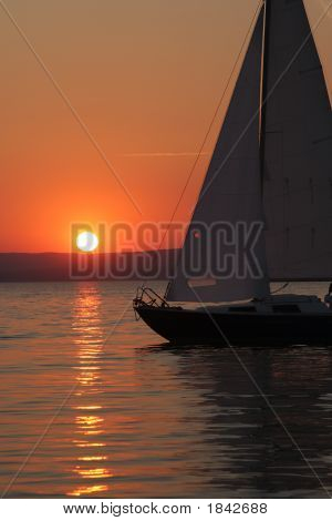 Sunset And Boat With People 3.