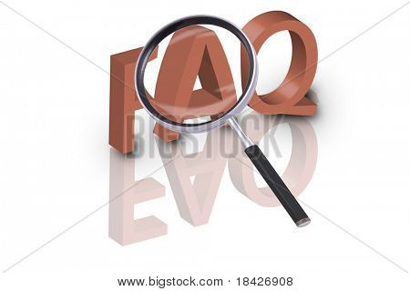 magnifying glass enlarging part of 3D word FAQ in red with reflections