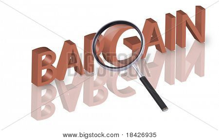 magnifying glass enlarging part of 3D word bargain in red with reflections
