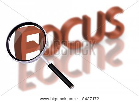 magnifying glass enlarging part of 3D word focus in red with reflections blurred focus button focus icon