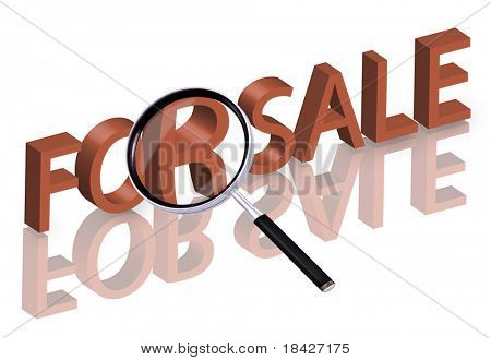 magnifying glass enlarging part of 3D word sale in red with reflections for sale icon sale button internet shop online store