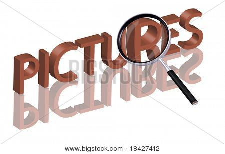 picture album pictures icon pictures button search pictures Magnifying glass enlarging part of red 3D word with reflection