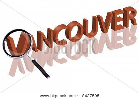 exploring city red letters in 3D part of word enlarged by magnifying glass vancouver canada city trip holiday tourism icon button travel traveling visit