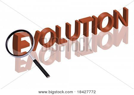 magnifying glass enlarging part of 3D word written in red letters