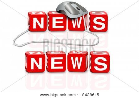 latest news hot news breaking news news button news icon red dices spelling the word news with or without mouse
