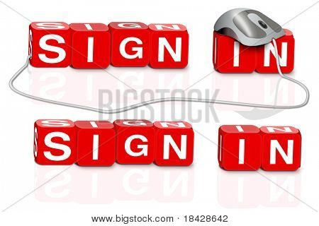 sign in button login icon red dices spelling the word sign in with or without mouse