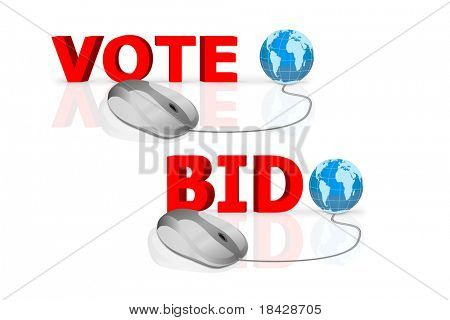 vote and bid written in big red letters connected with mouse