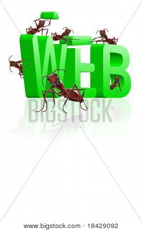 web website internet site under construction ants building word www